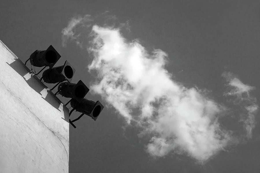 Minimalism Photograph - Four Lights Vs The Cloud by Prakash Ghai
