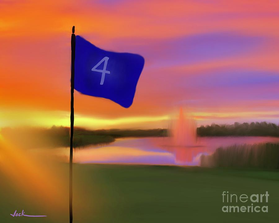 Golf Painting - Four not Fore by Jack Bunds