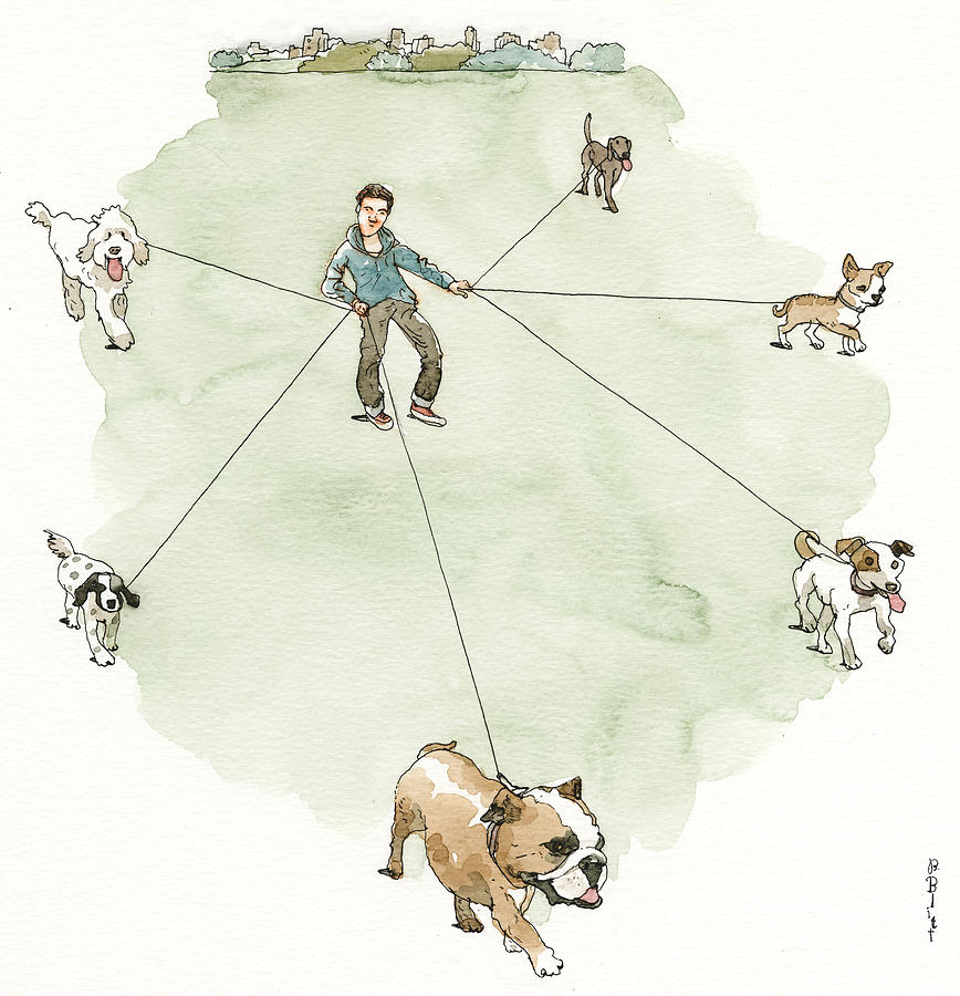 Four Paws Six Feet Painting by Barry Blitt