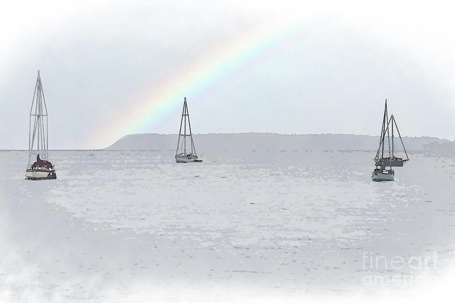 Sailboat Digital Art - Four Sailboats On Bellingham Bay by Kirt Tisdale