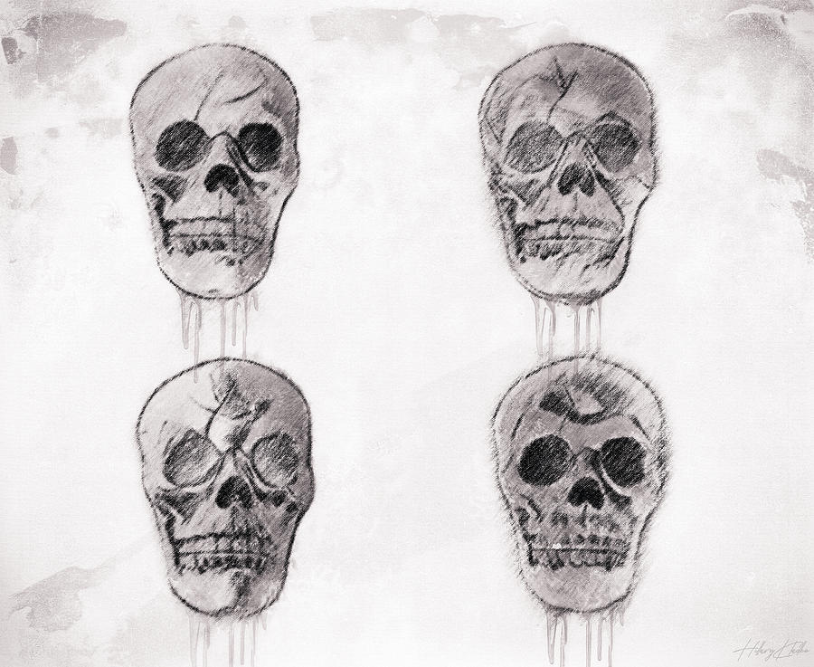 Four Skull Sketch Drawing