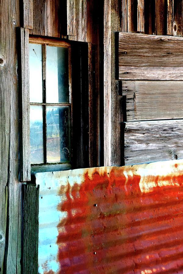 Four Window Panes Rusty Metal Photograph