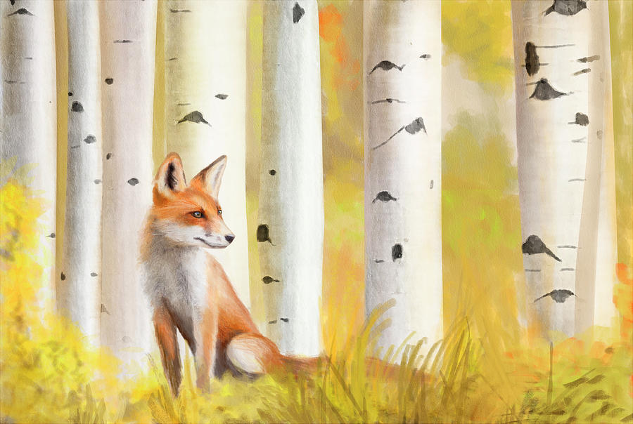 Fox Painting - Fox and Birch by Michelle Caldwell