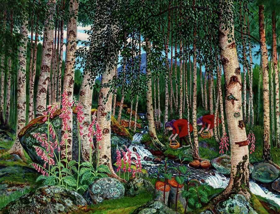 Nikolai Astrup Painting - Foxgloves, 1920 by Nikolai Astrup