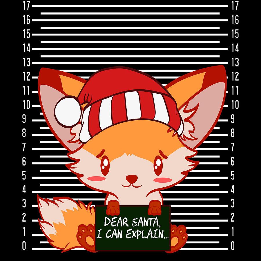 Foxy Fox Dear Santa I Can Explain Naughty List Christmas Xmas Holiday Season Tshirt Design Mixed Media By Roland Andres