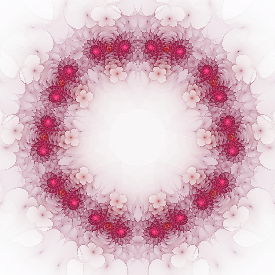 Fractal Mandala Style red and white by Matthias Hauser