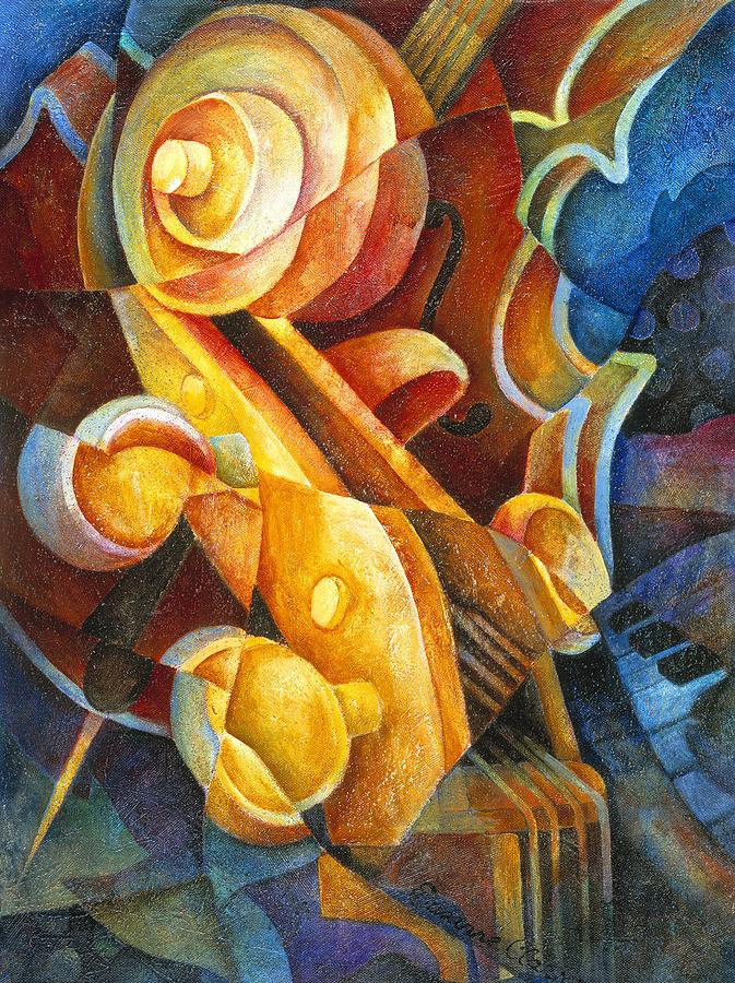 Cello Painting - Fractured Cello by Susanne Clark