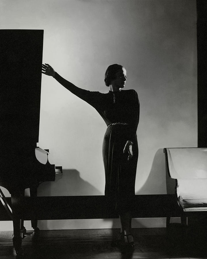Frances Douelon Posing Beside A Piano Photograph by Edward Steichen