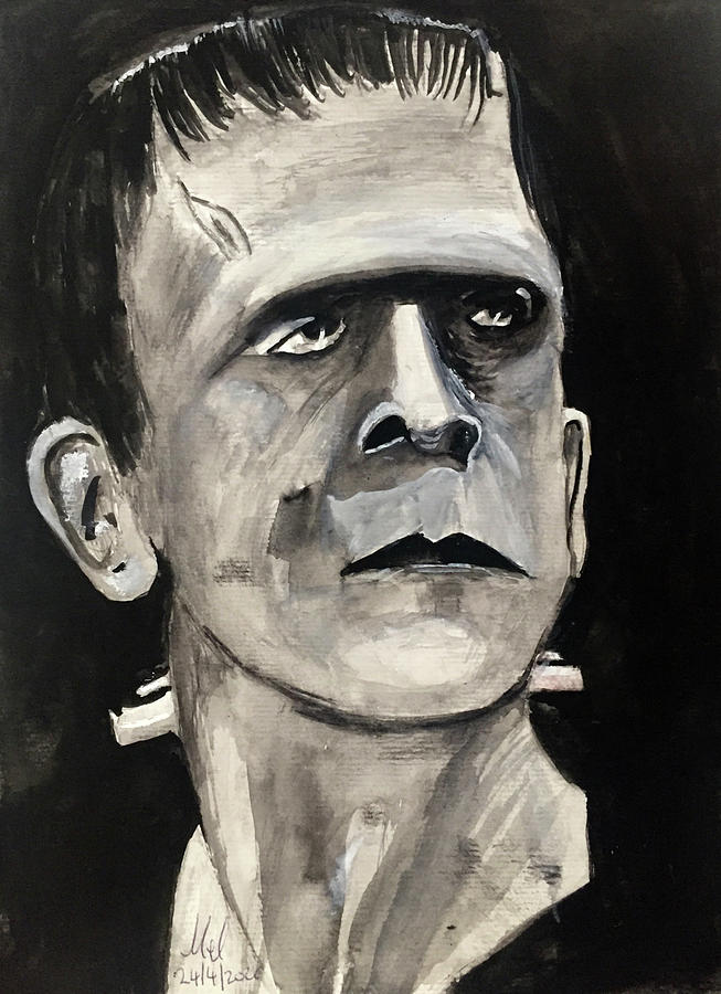 Classic Portrait Of Frankensteins Creation. Painting