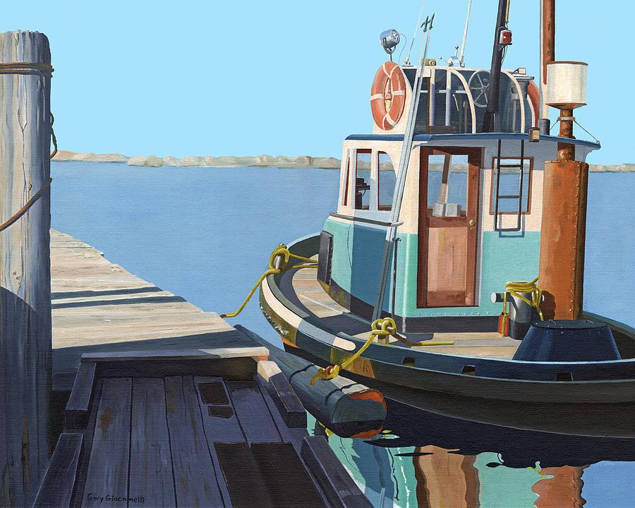 Tug Painting - Fraser River tug by Gary Giacomelli