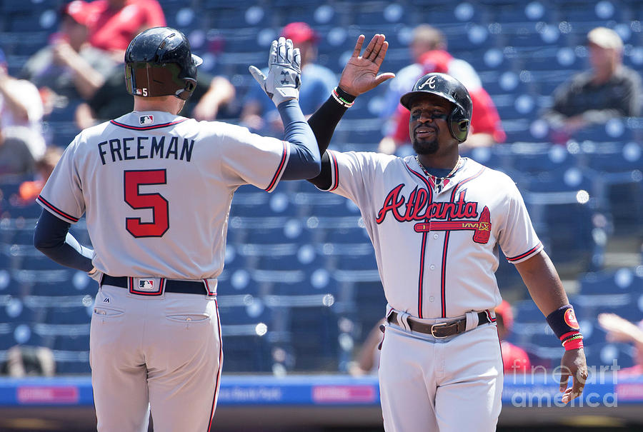 Freddie Freeman and Brandon Phillips Photograph by Mitchell Leff
