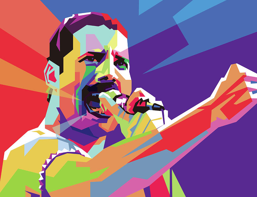 Freddy Mercury Eoooo Wpap Digital Art