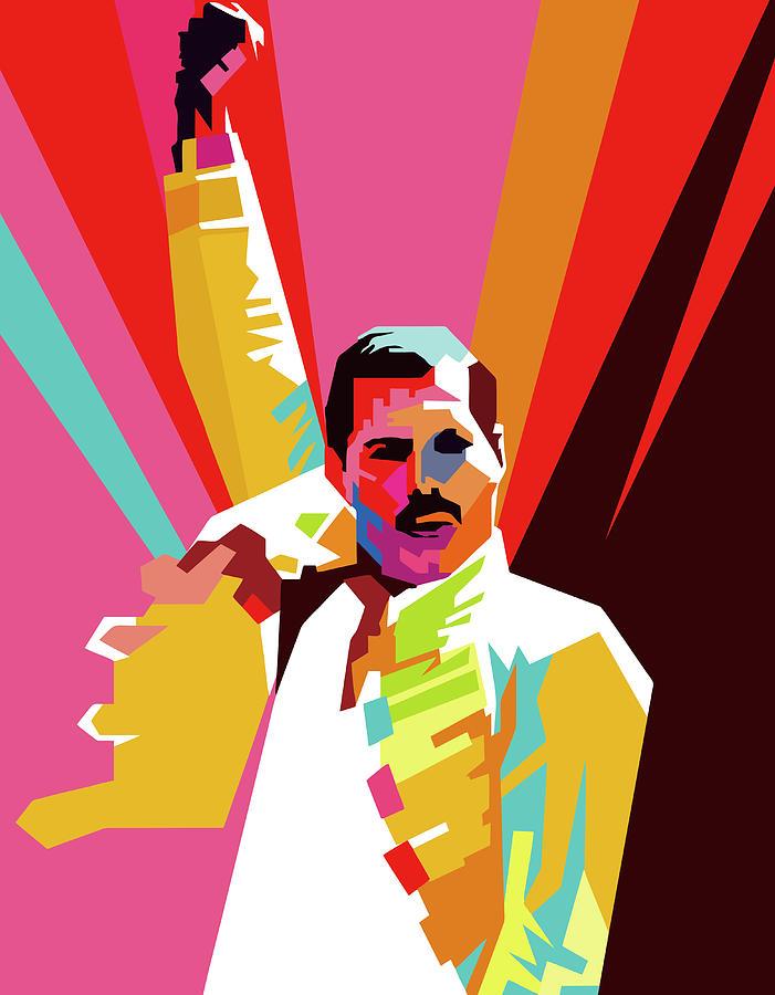 Freddie Mercury Wpap Pop Art Digital Art