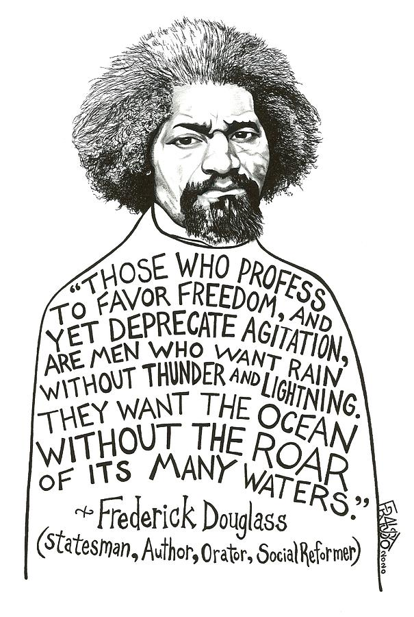 Pen And Ink Illustration Drawing - Frederick Douglass Drawing by Rick Frausto