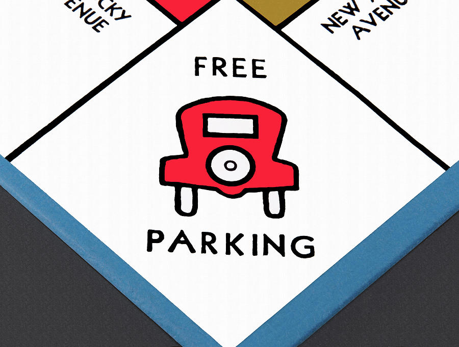Free Parking space on a monopoly game board by Phil Cardamone