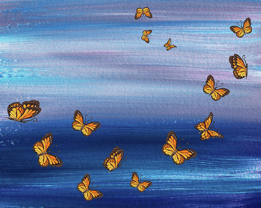 Freedom Of The Flight Monarch Butterflies Painting