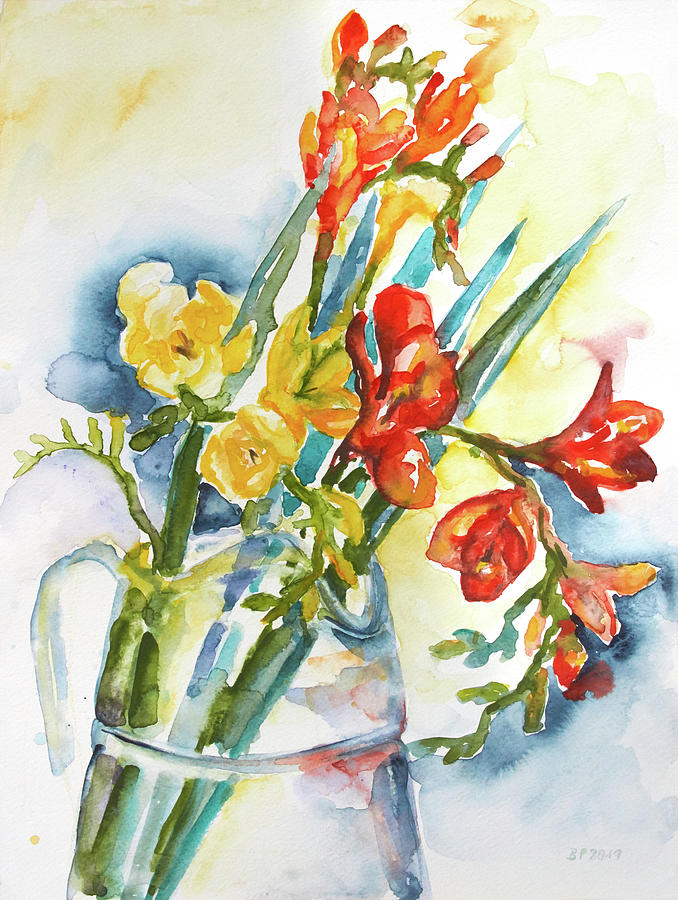 Freesia In A Glass Pitcher Painting by Barbara Pommerenke