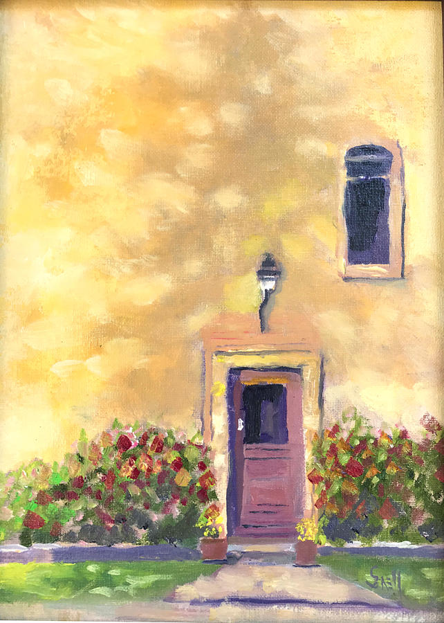 France Painting - French Door Shadow by Roger Snell