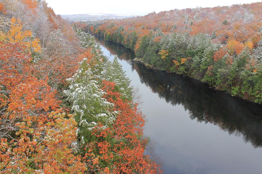 French King Bridge Autumn Snow Photograph