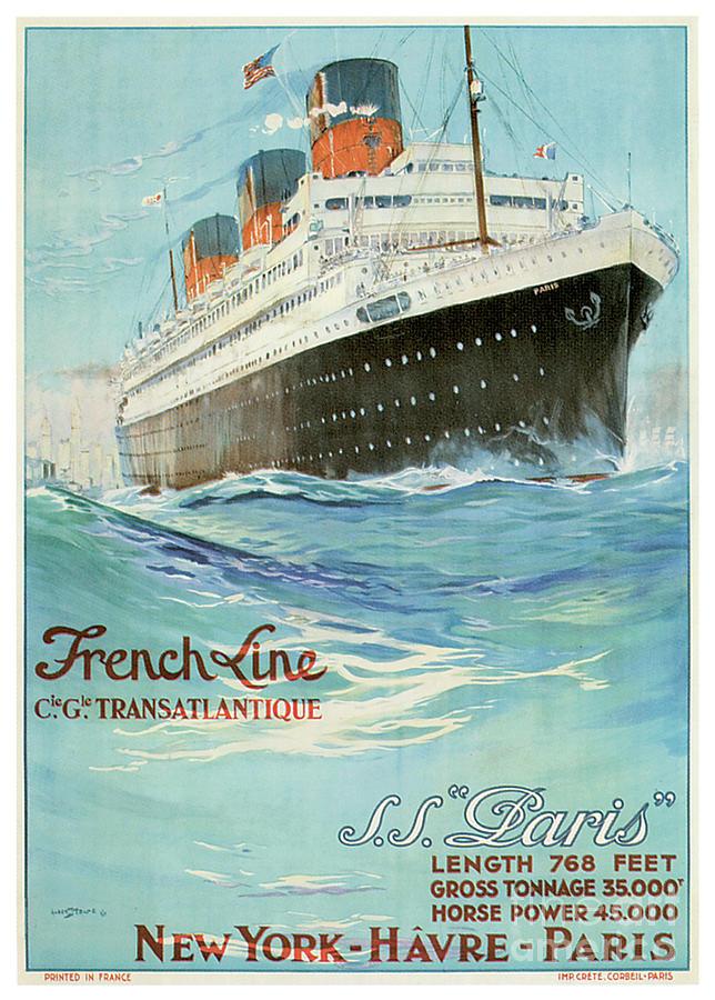 French Line Cie Gle Transatlantique Ss Paris Length 768 Feet Gross Tonnage 35000 Horse Power 45000 N Painting