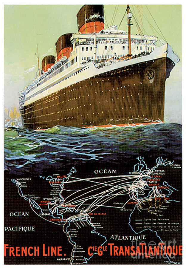 French Line Cie Gle Transatlantique Travel Poster Painting