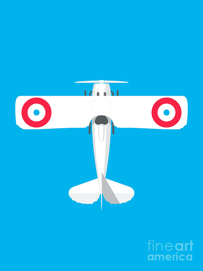 Aviation Digital Art - French XIII WWI Biplane Aircraft - Cyan by Organic Synthesis