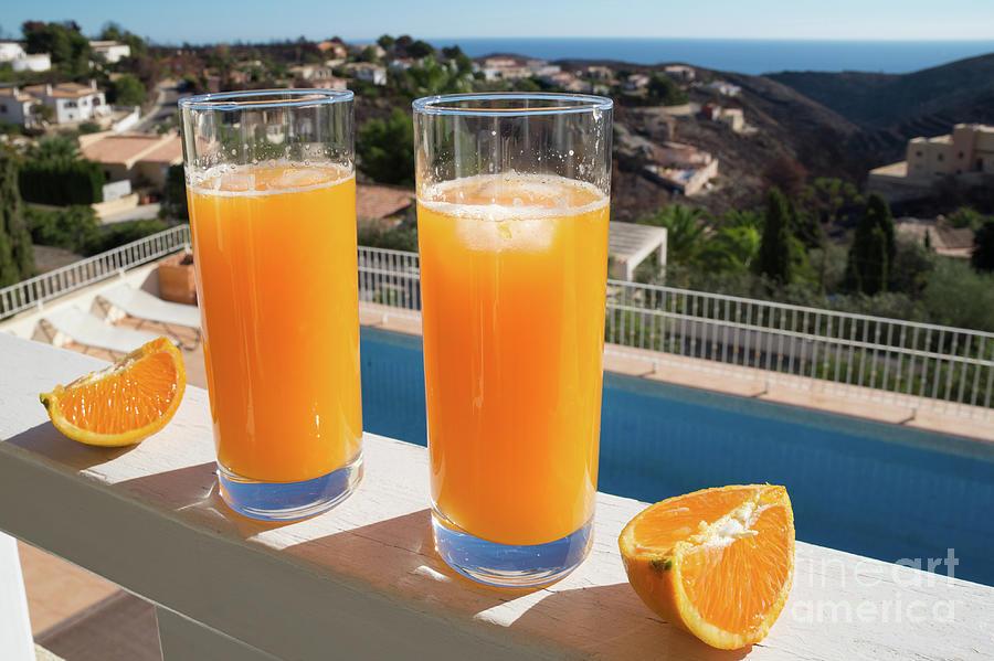 Fresh Orange Juice, Sun And View Of The Mediterranean Sea Photograph