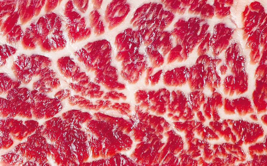 Fresh Raw Beef Steak Marbled Meat Texture Close Up Background Photograph