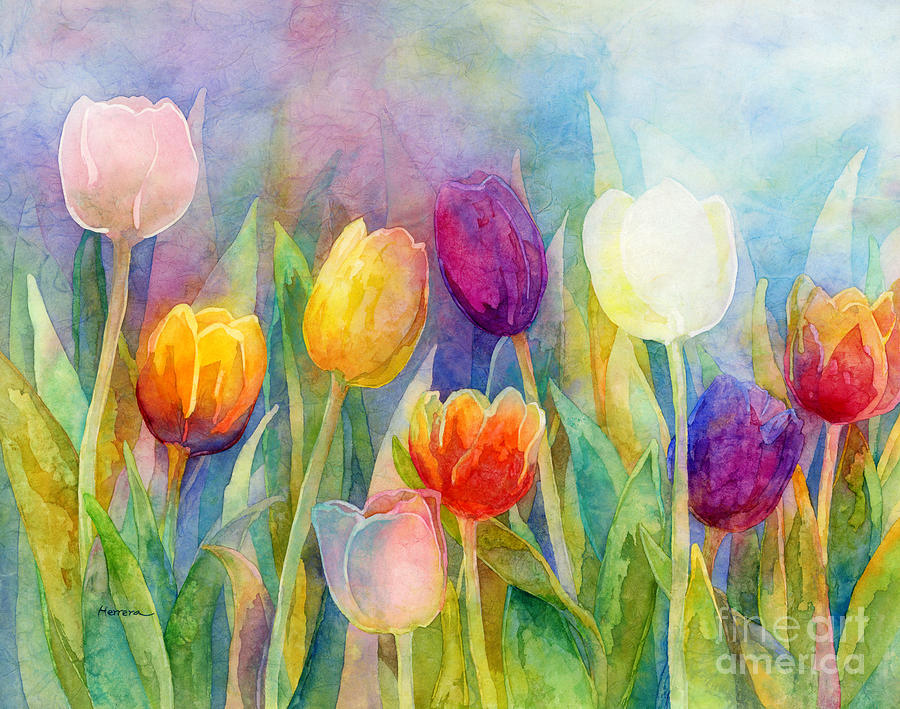 Tulip Painting - Fresh Tulips by Hailey E Herrera