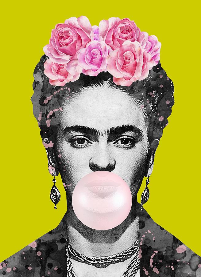 Frida Kahlo Bubble Gum Digital Art