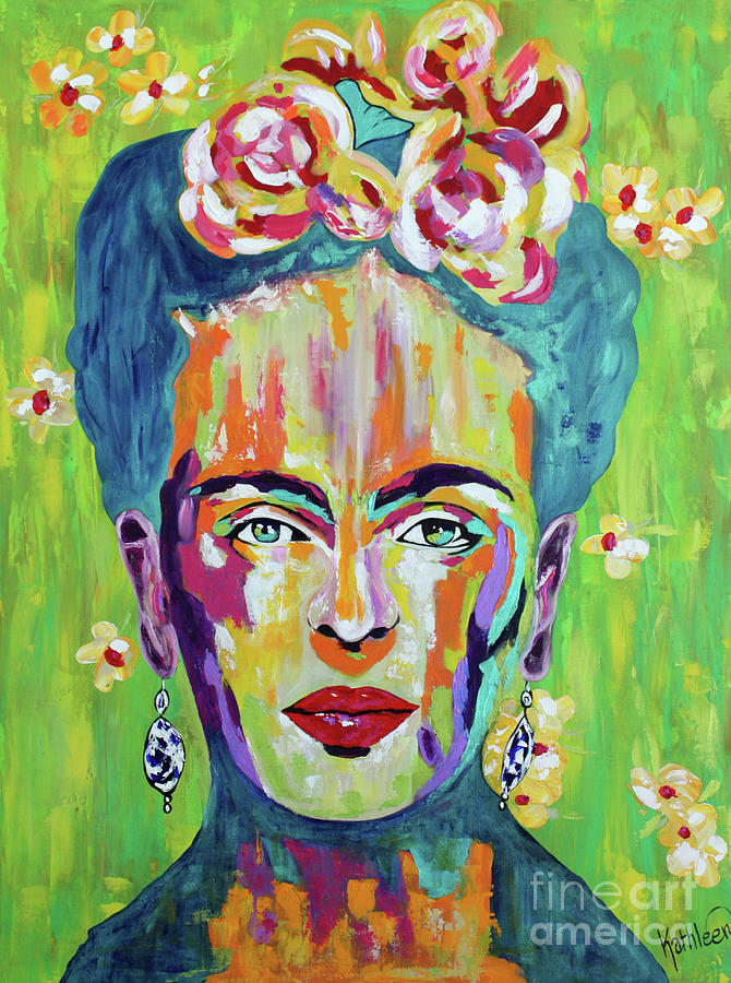 Frida Kahlo Flowers Painting Painting