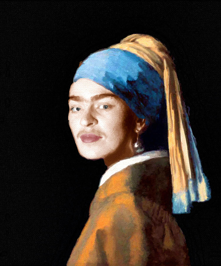 Frida Kahlo Johannes Vermeer Girl With A Pearl Earring Painting