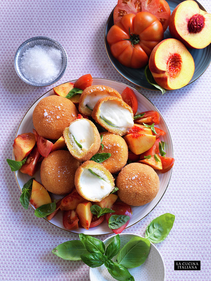 Fried Mozzarella with Tomatoes and Peaches Photograph by Riccardo Lettieri