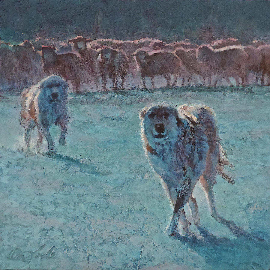 Guard Dogs Painting - Friend or Foe by Mia DeLode