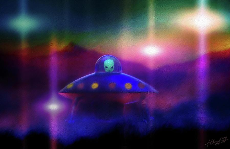 Friendly Ufo Encounter Painting