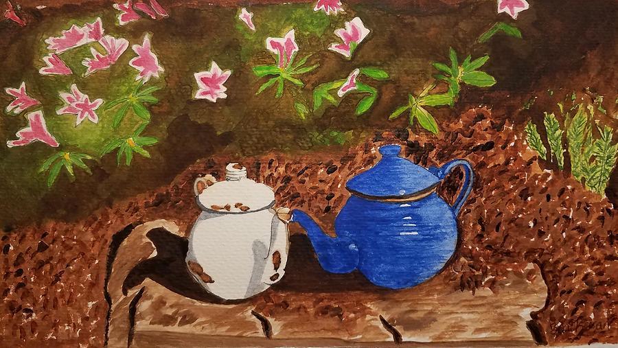 Teapots Painting - Friends by Bonnie McKeegan