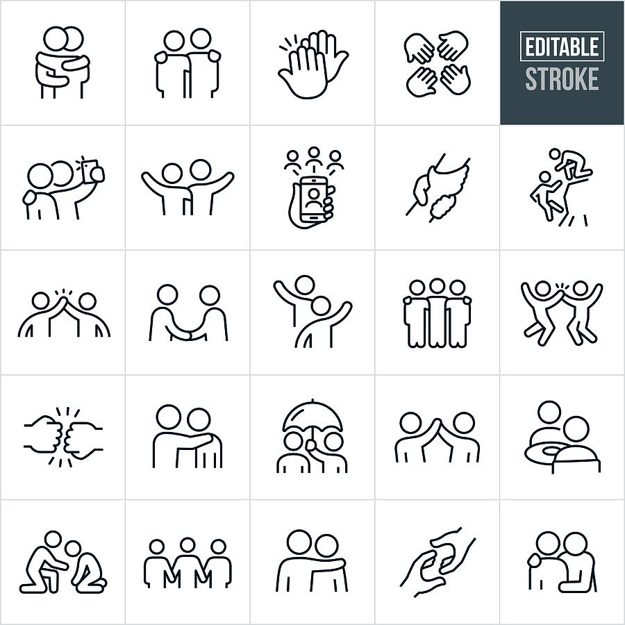 Friendship Thin Line Icons - Editable Stroke Drawing by Appleuzr