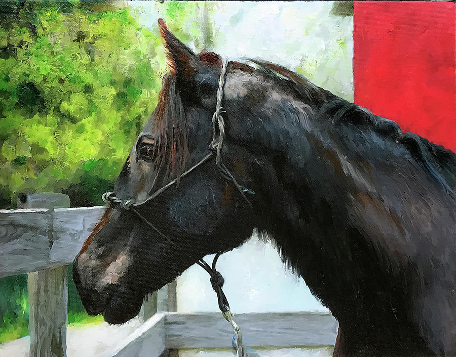 Friesian Horse Portrait Painting
