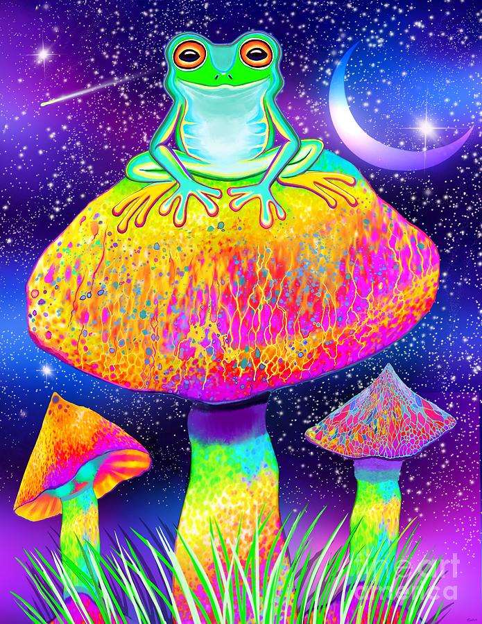 Frog And Colorful Mushrooms Digital Art