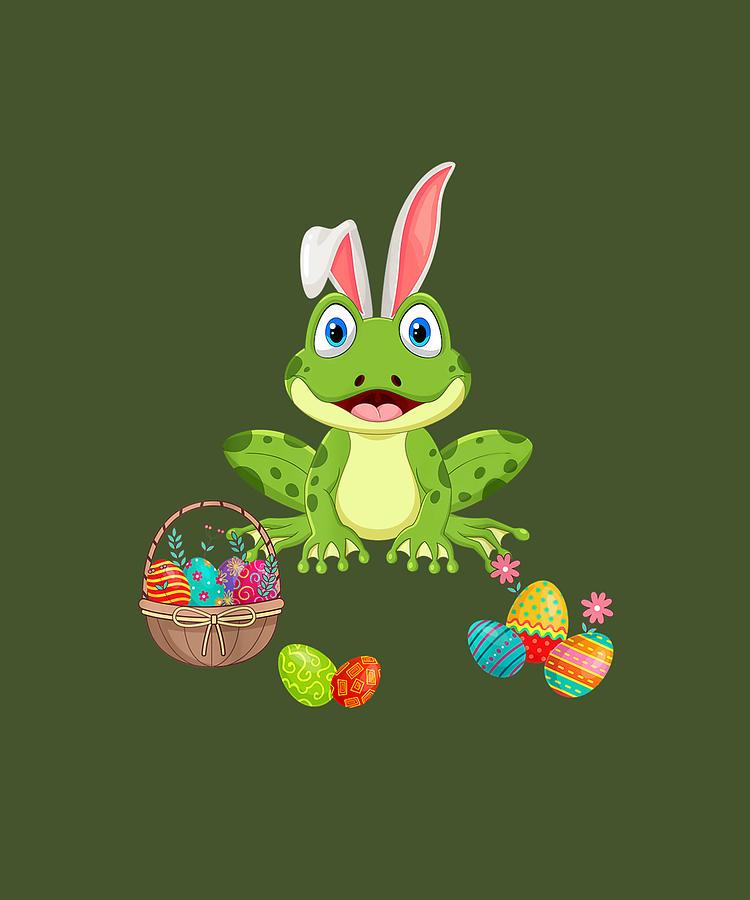 Frog Wear Bunny Ears Cute Easter Eggs Day Gift Tshirt Digital Art