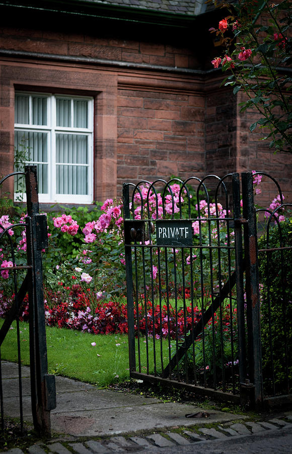 Front Private Entrance With Metal Railings To The Flower Garden Of A British House. English Countryside Photograph