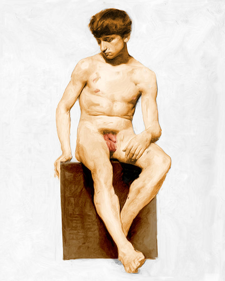 Frontal Nude Young Man Sitting by Nude Male Art