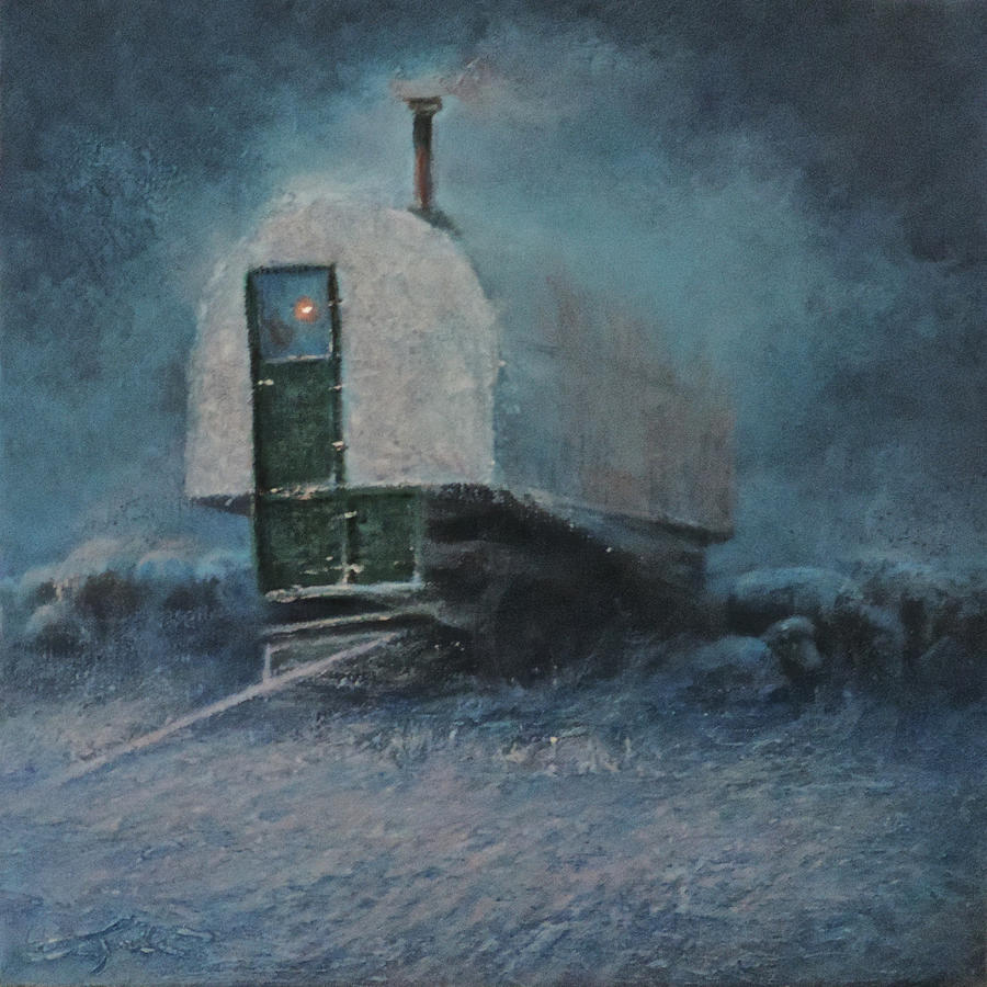 Sheep Wagon Painting - Frost on the Bows by Mia DeLode