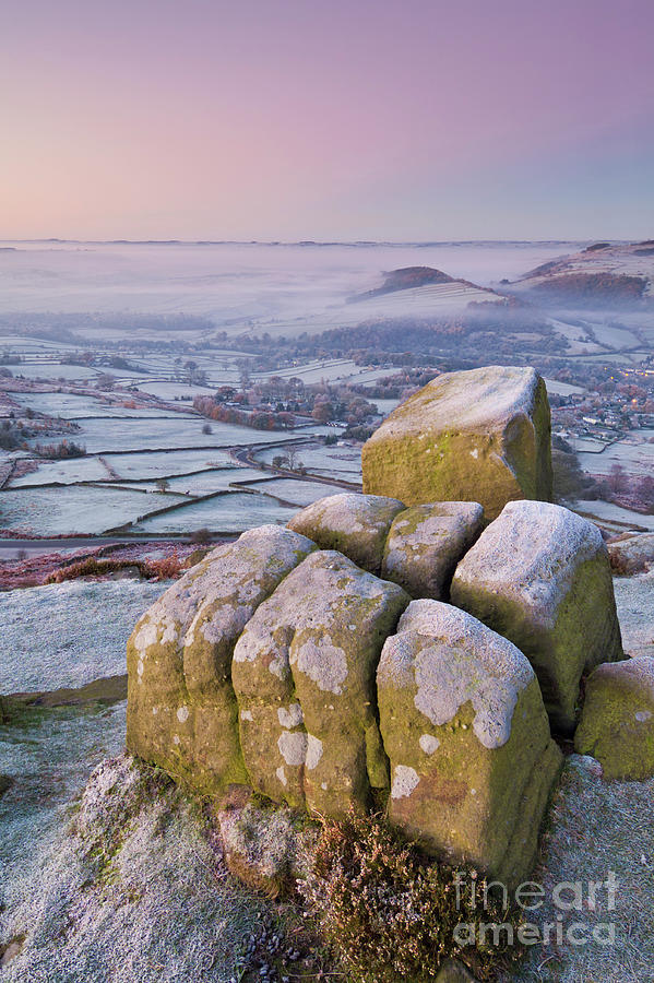 Frosty Curbar edge sunrise, Peak District, England by Neale And Judith Clark