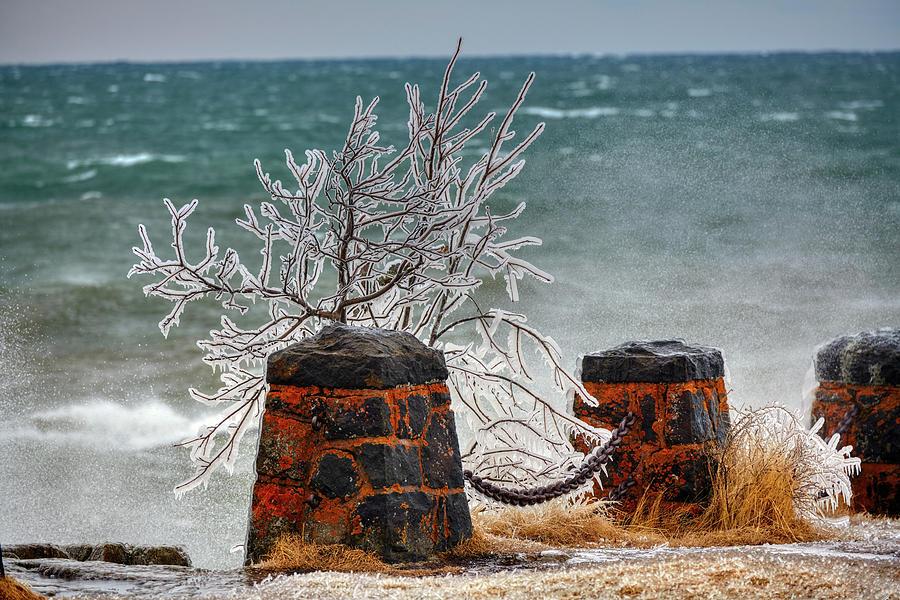 Storm Photograph - Frozen Superior Scenery by Paul Freidlund