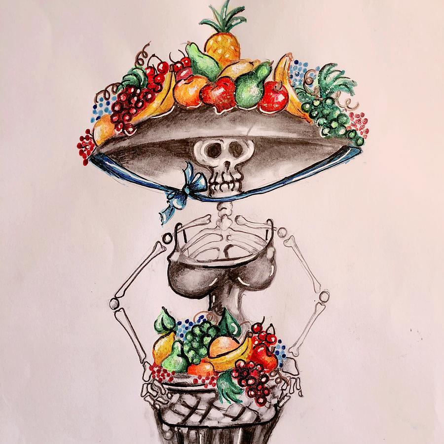 Fruit Basket Drawing By Anna Hackler