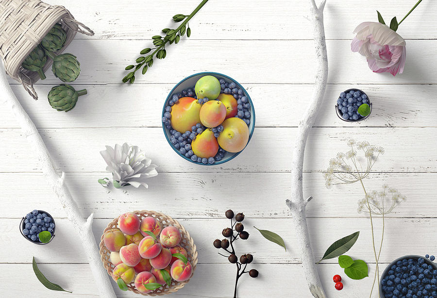 Fruit Berries Branches Flowers On White Wood 2 by Johanna Hurmerinta