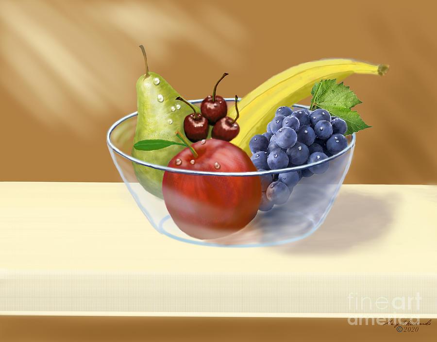 Fruit Bowl Still Life Digital Art By Gary F Richards