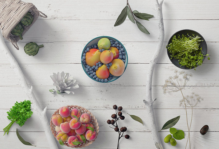 Fruit Herbs Flowers Olives On White Wood by Johanna Hurmerinta