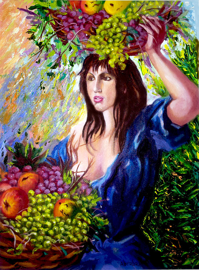 People Painting - Fruit lady by Jose Manuel Abraham